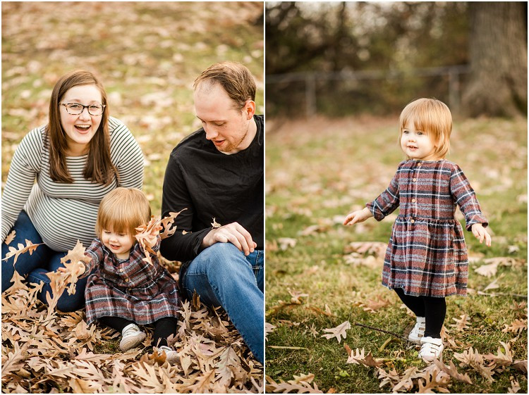 family-sitting-on-ground-toddler-playing-in-leaves-at-backyard-family-session-by-green-bay-wedding-photographer-kyra-rane-photography