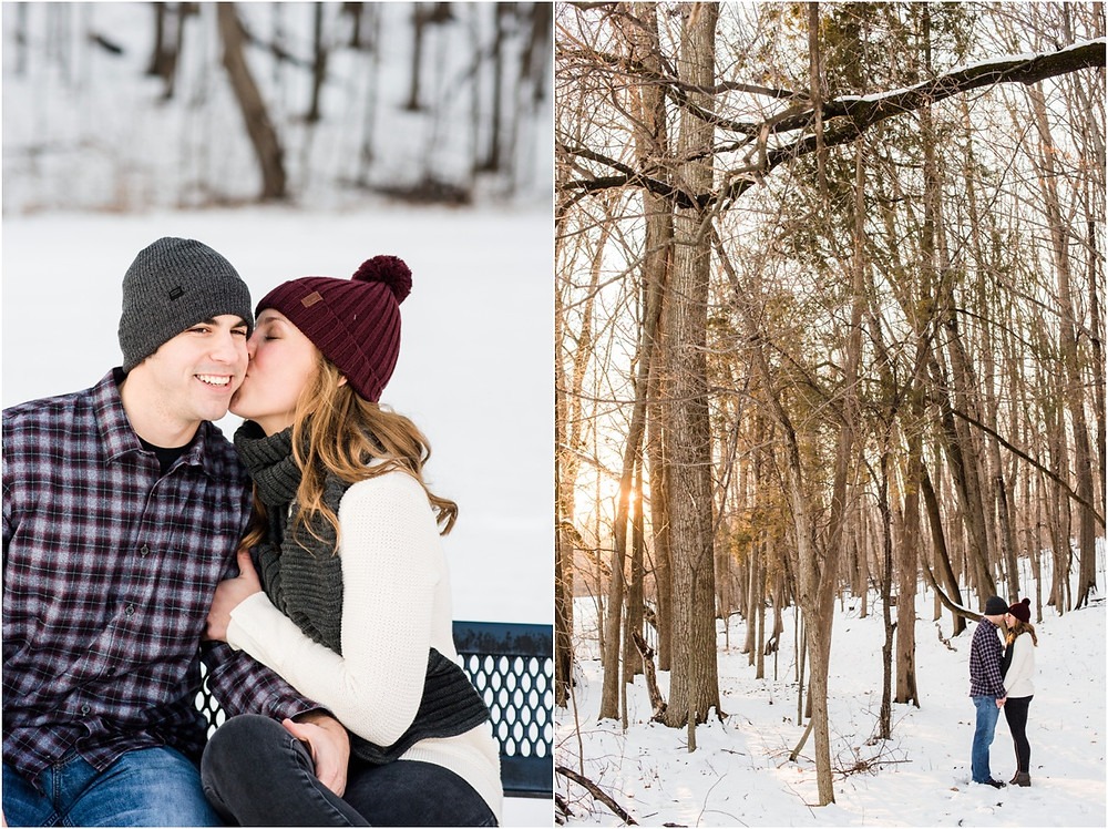 woman-kissing-fiances-cheek-at-pamperin-park-winter-engagement-session-by-appleton-wedding-photographer-kyra-rane-photography