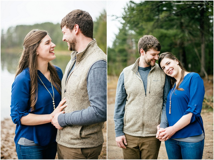 engaged-couple-standing-close-laughing-at-northwoods-lakeside-engagement-session-by-green-bay-wedding-photographer-kyra-rane-photography