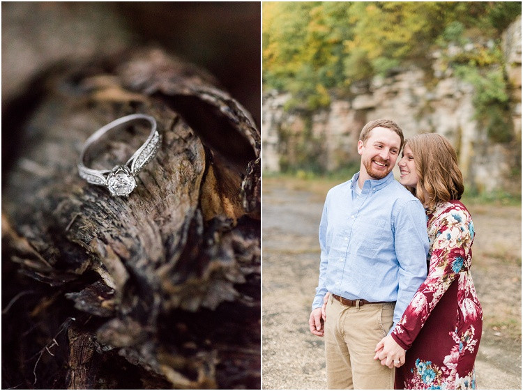 engaged-couple-smiling-close-together-at-high-cliff-engagement-session-by-milwaukee-wedding-photographer-kyra-rane-photography