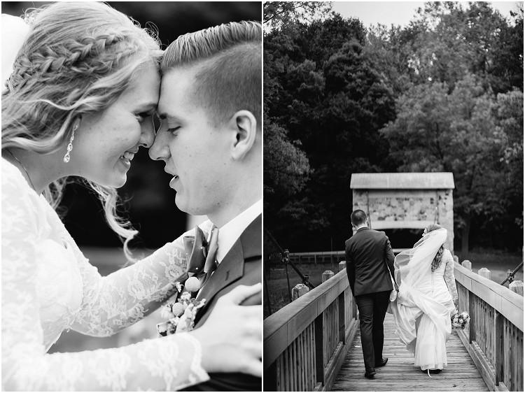 bride-and-groom-walking-away-on-bridge-at-pamperin-park-wedding-by-appleton-wedding-photographer-kyra-rane-photography