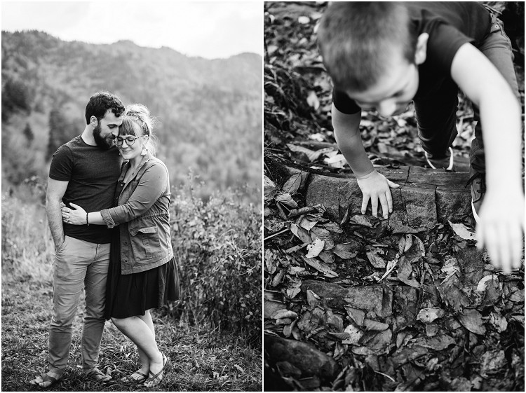 little-boy-walking-up-wood-steps-with-leaves-at-family-session-in-the-great-smoky-mountains-by-milwaukee-wedding-photographer-kyra-rane-photography