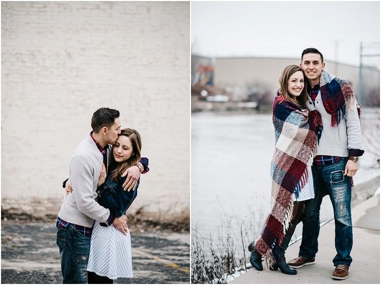 engaged-couple-smiling-at-camera-at-appleton-engagement-session-by-milwaukee-wedding-photographer-kyra-rane-photography