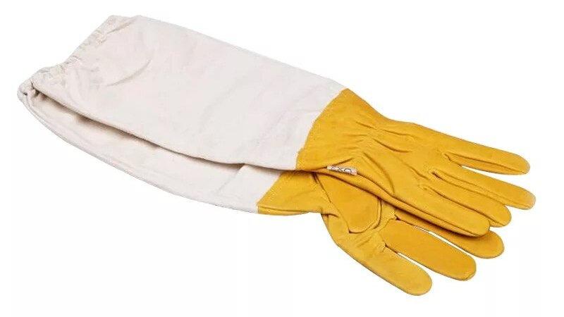 1pair Vented Long Sleeves Goatskin Beekeeping Gloves