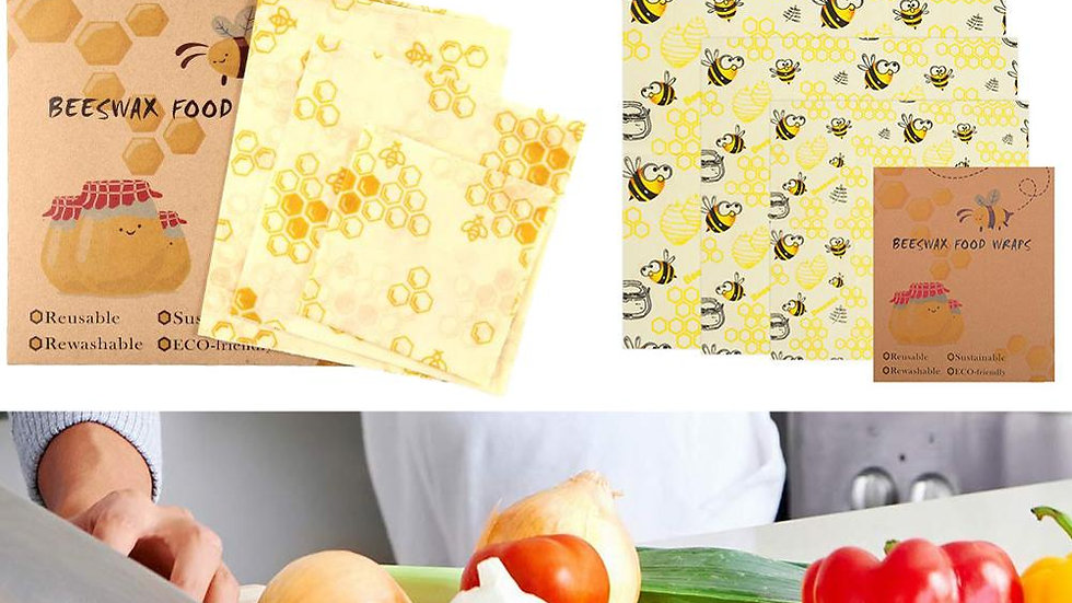 3pcs Reusable Beeswax Food Wraps