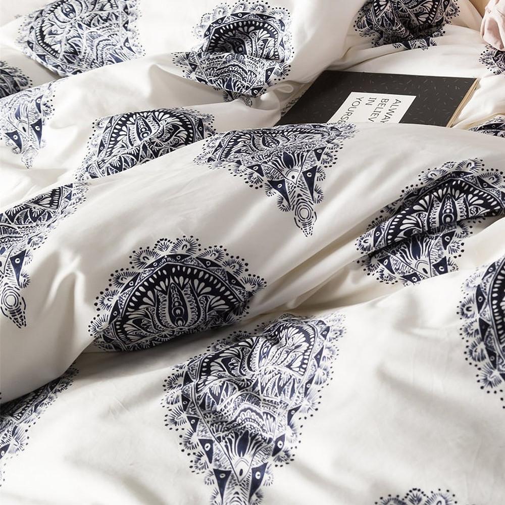 Damask Medallion Luxury Duvet Quilt Cover Boho Paisley Print Bedding Set 400 Thread Count Egyptian Cotton Sateen Vibrant Bohemian Pattern
