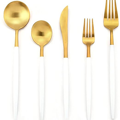 Lux Gold and White Flatware