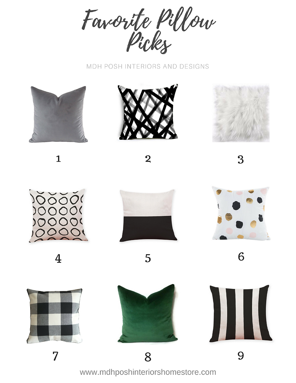 Favorite Pillow Picks by MDH Posh Interiors and Design