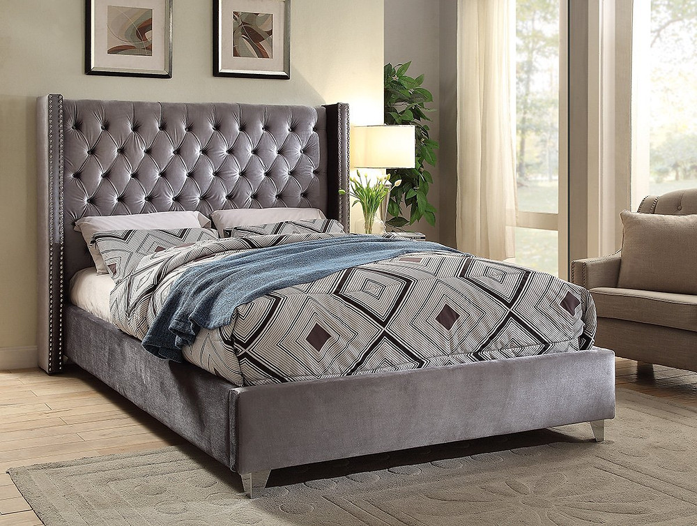 Velvet Upholstered Button Tufted Wingback Bed with Chrome Nailhead Trim