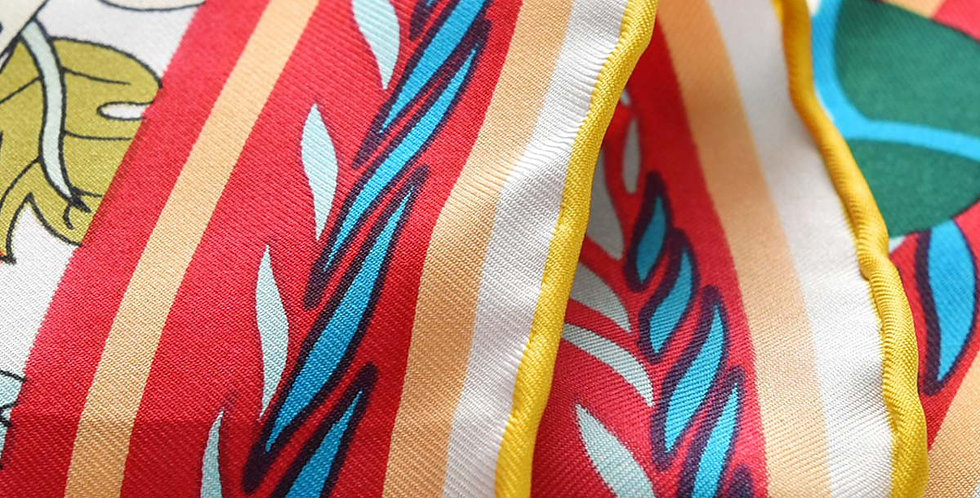 Miami Silk Scarf Red and Ivory