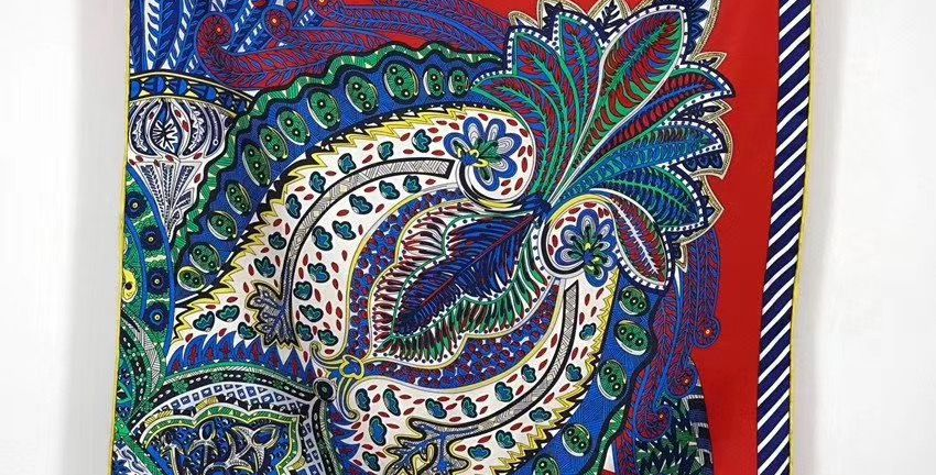 Paisley Silk Scarf in Red & Blue
