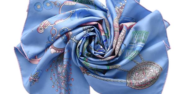 Vatican Silk Scarf in Blue