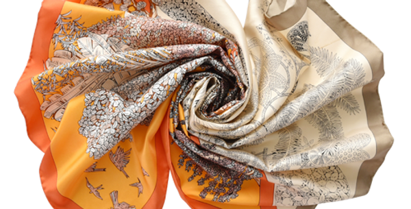 Osaka Silk Scarf in Orange & Tan