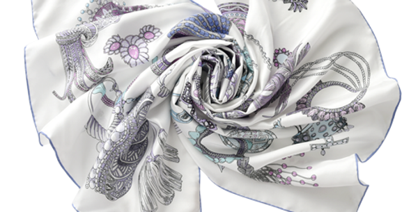 Vatican Silk Scarf in White
