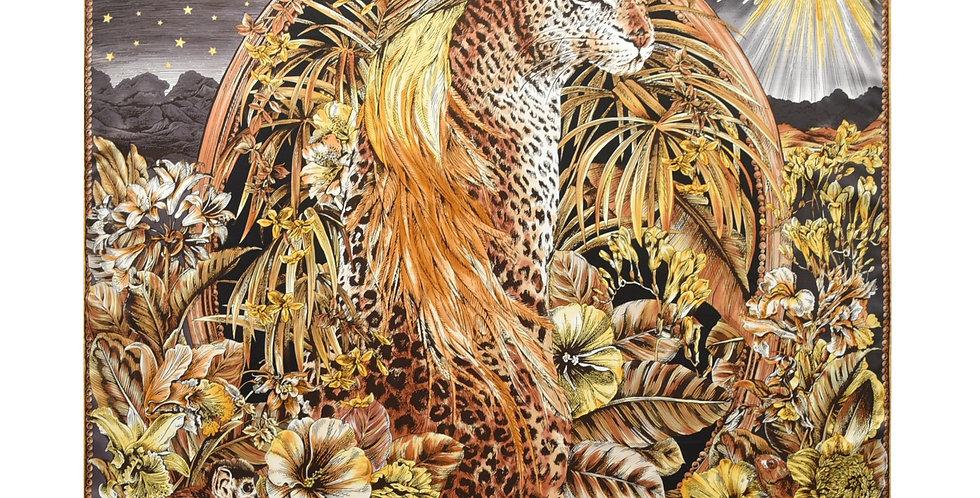Cheetah Silk Scarf in Brown