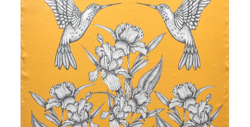 Humming Bird Silk Scarf in Yellow