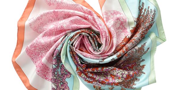 Osaka Silk Scarf in Pink & Red
