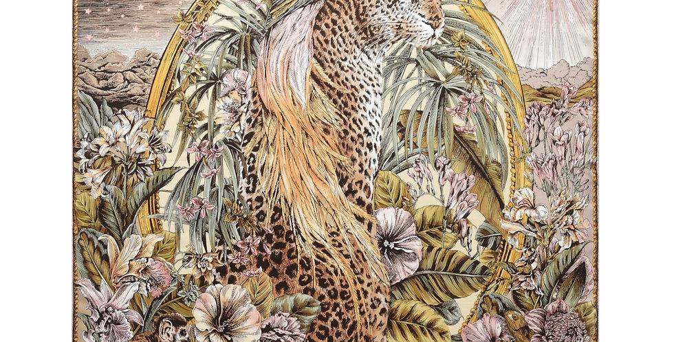 Cheetah Silk Scarf in Tan