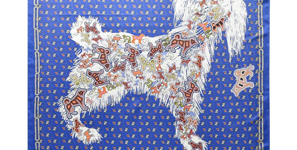 Poodle Silk Scarf in Blue