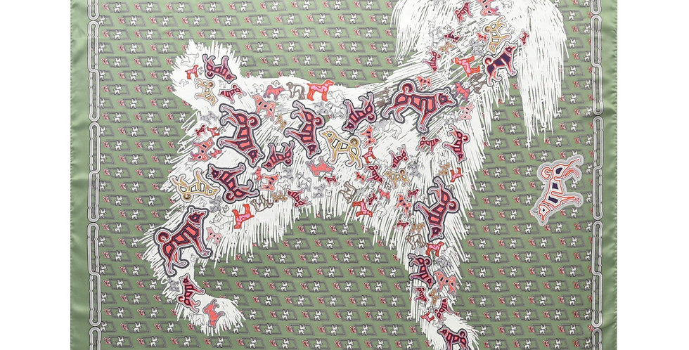 Poodle Silk Scarf in Green