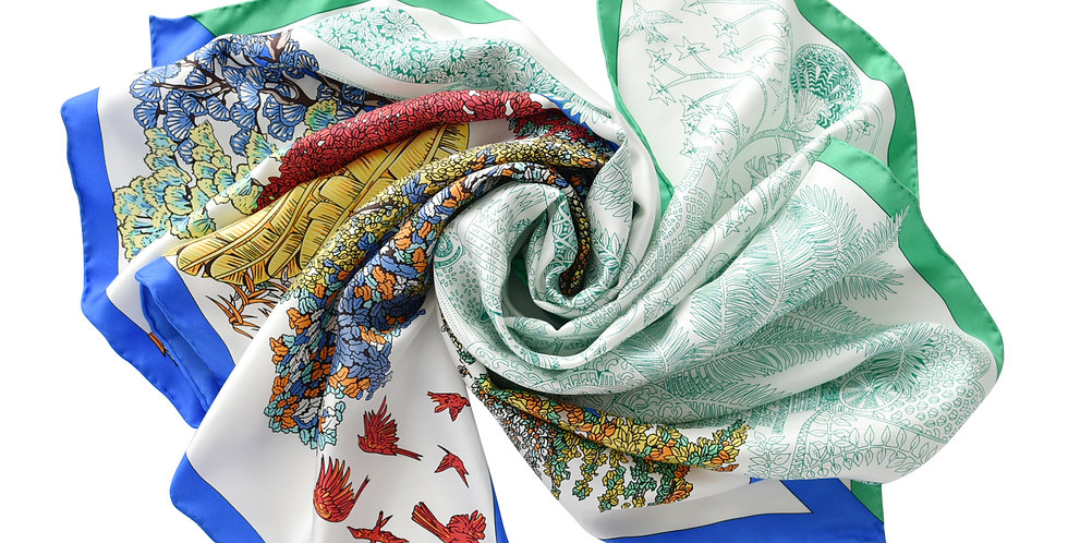 Osaka Silk Scarf in Multi & Green