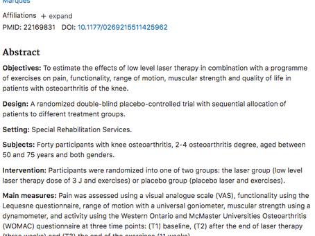 Werkzaamheid van low-level lasertherapie geassocieerd met oefeningen bij artrose van de knie
