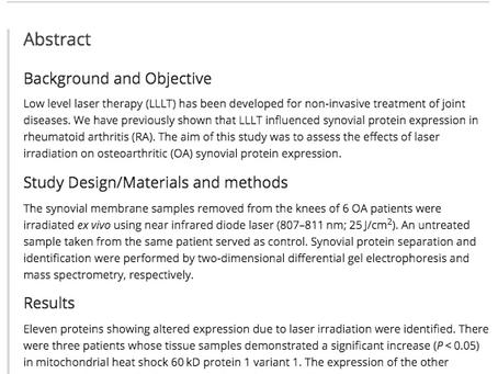MEDISCH: De expressie van cytosolische eiwitten in het synovium van patiënten met artrose na laseren