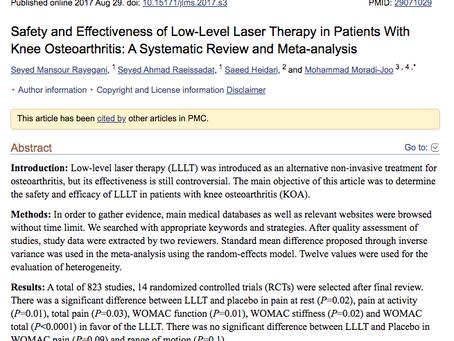 Totaal overzicht van 837 studies: Het effect van Low Level Laser therapie bij artrose van de knie.