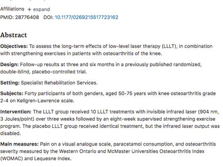 Low-level lasertherapie voorafgaand aan oefeningen bij knieartrose
