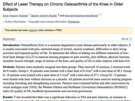 Het effect van Laser therapie bij artrose van de knie bij ouderen