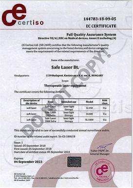 Certificaat Safe Laser - CE markering.jp