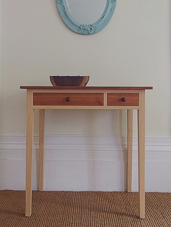 Linden and cherry desk with hand turned knobs