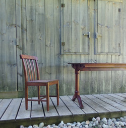 Solid walnut dining table and chair