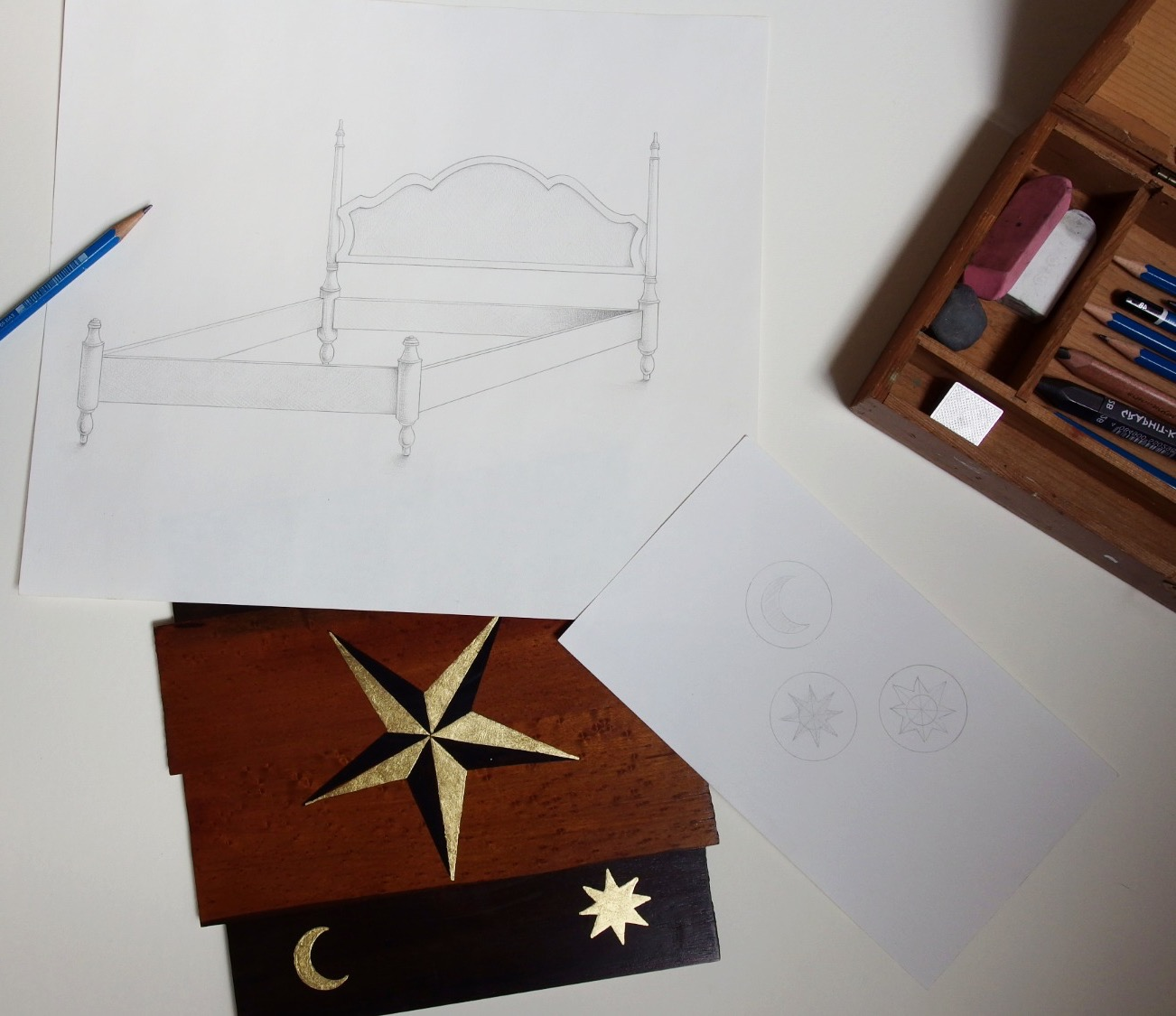 Design process for King size bed with small scale mock up of hand gilded designs
