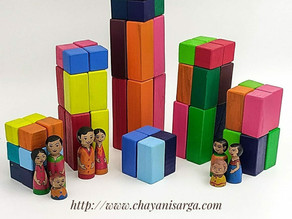 64 PC wooden pyramid blocks for building hours of fun
