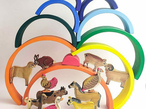 Rainbow stacking puzzle with Farm animals