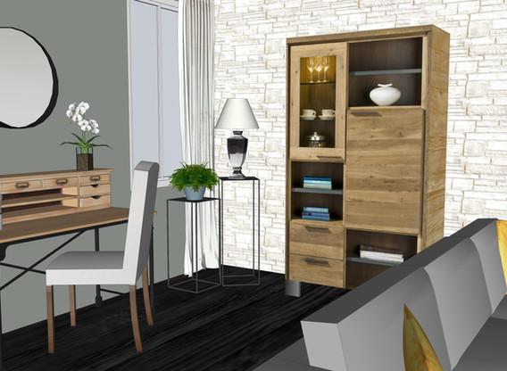 Modelisation 3D de bureau ouvert sur le salon