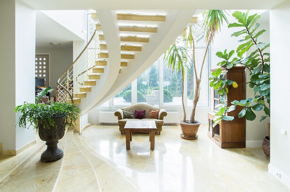 stairs, plants, biophilia, biophilic design