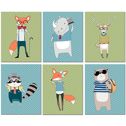 Hipster Animals Art Prints - Set of 6 Original Kids Wall Decor 8x10 Photos