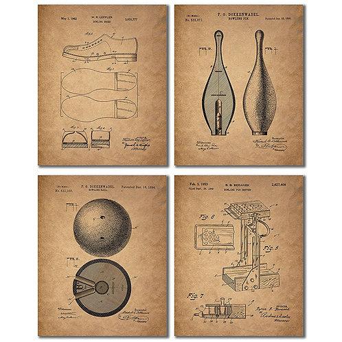 Bowling Patent Wall Art Prints - Set of Four Vintage Antique Replica Photos