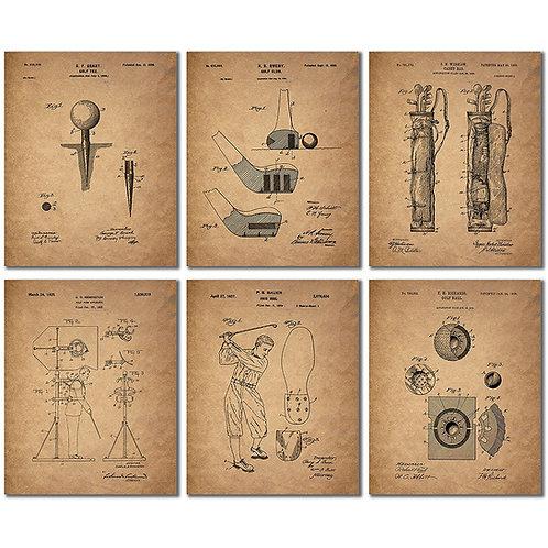 Golf Patent Wall Art Prints - Set of Six Photo Prints
