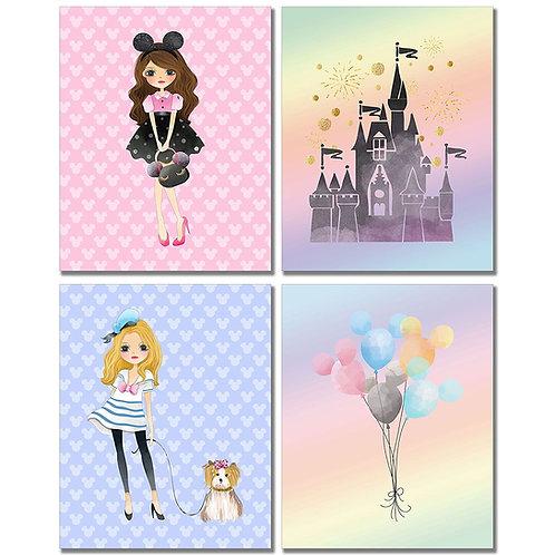 Disney Girls Art Prints - Girl's Room Wall Decor Photos - Set of Four 8x10