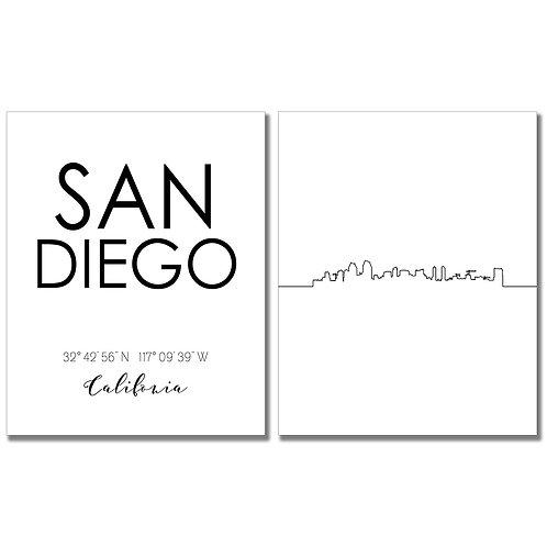 San Diego California Skyline Wall Art Prints Set of Two 8x10 Photos - City Coord