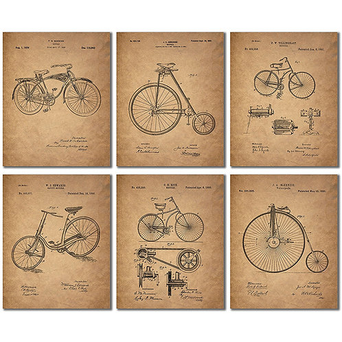 Bicycle Patent Prints - Set of Six Vintage Bike Decor Wall Art Photos