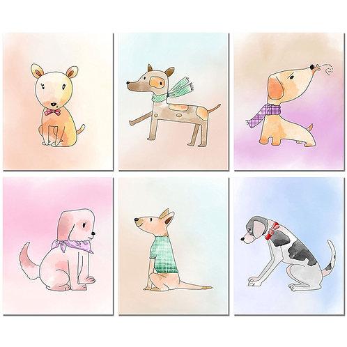Dog Watercolor Art Prints - Set of Six 8x10 Puppy Wall Decor Photos