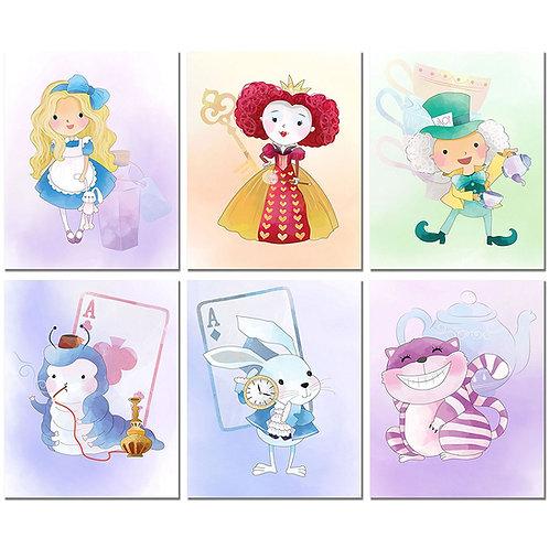Alice in Wonderland inspired Original Watercolor Prints Set of 6 Nursery Wall Ar