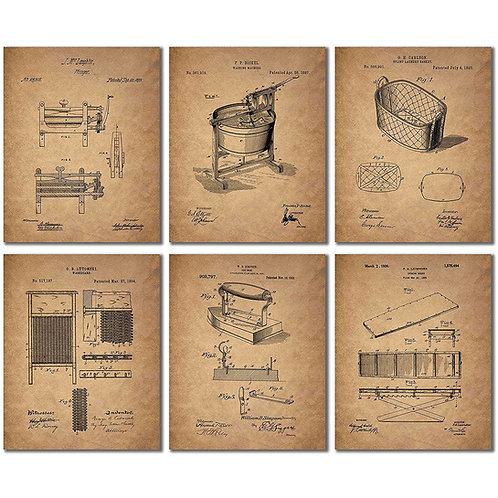 Laundry Room Patent Prints - Set of Six 8x10 Vintage Wall Art Decor Photos
