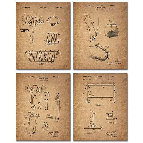Ballet Dance Patent Prints - Set of Four 8x10 Vintage Wall Art Decor Photos Slip