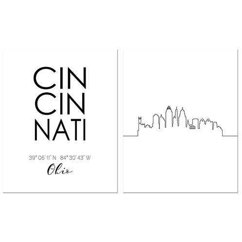 Cincinnati Ohio Skyline Wall Art Prints Set of Two 8x10 Photos - City Minimalist