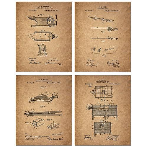 Blacksmith Patent Art Prints - Set of Four 8 x 10 Photos - Vintage Decor